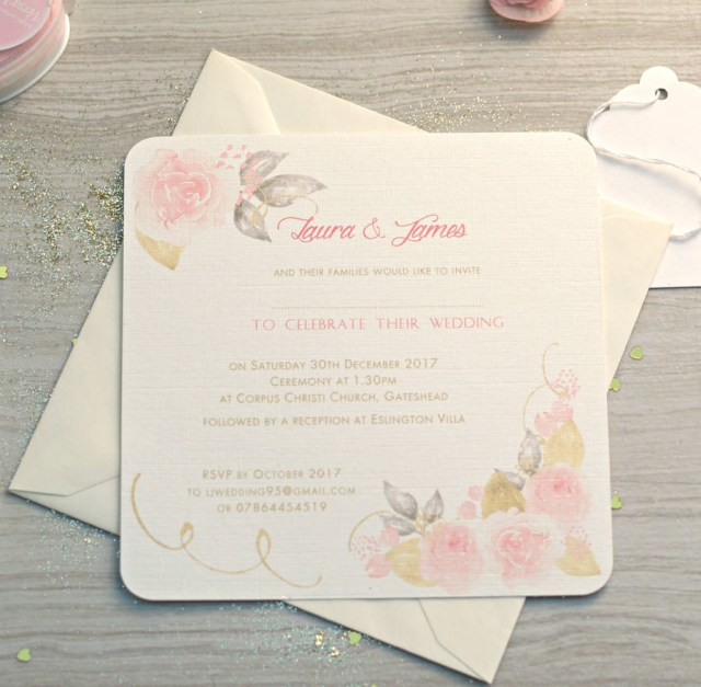 Rose Wedding Invitations Gold And Pink Rose Wedding Invitations Beautiful Day