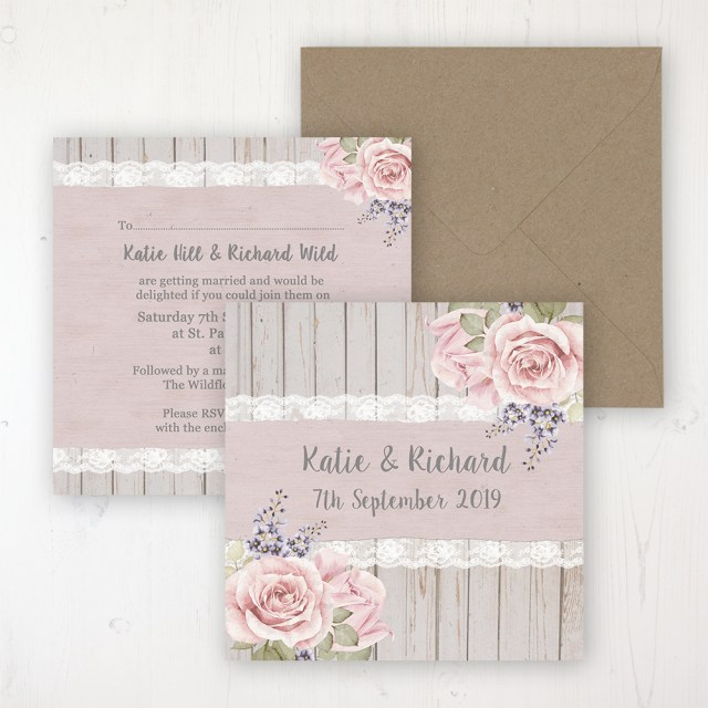 Rose Wedding Invitations Mink Rose Wedding Invitations Sarah Wants Stationery