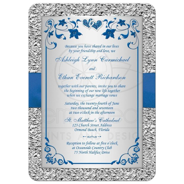 Royal Blue And Silver Wedding Invitations Royal Blue Wedding Invitation Faux Foil Silver Floral Printed