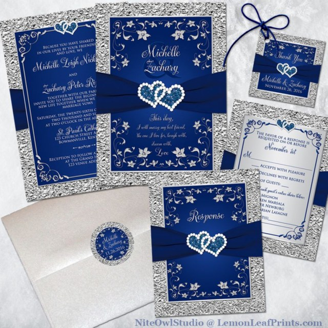Royal Blue And Silver Wedding Invitations Set Of 20 Royal Blue Wedding Invitation White And Royal Blue