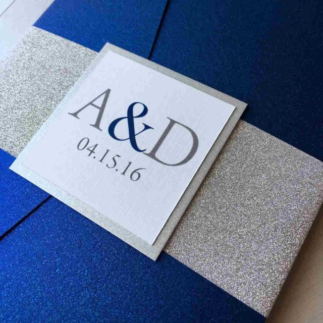 Royal Blue And Silver Wedding Invitations Silver And Royal Blue Wedding Motif