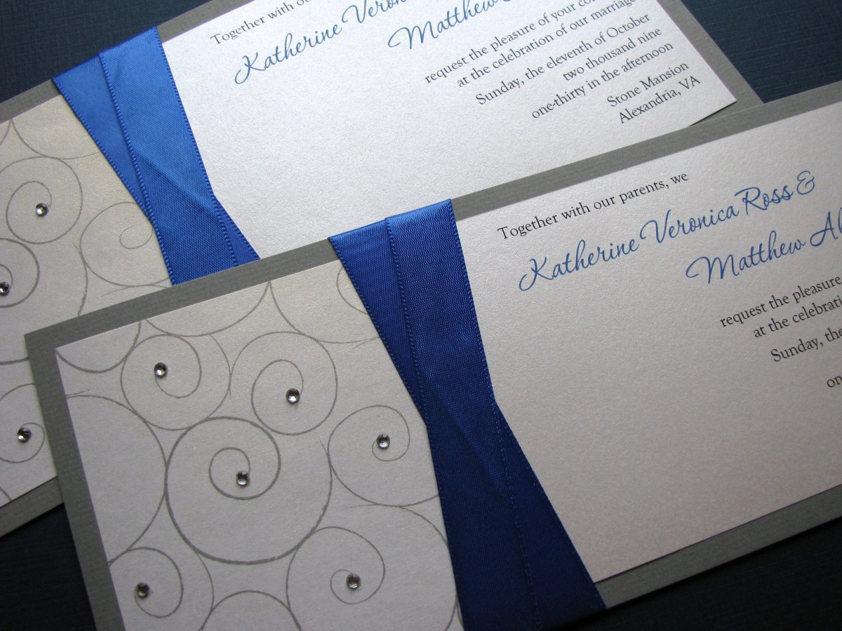 Royal Blue And Silver Wedding Invitations Wedding Invitation Card Royal Blue Background Design