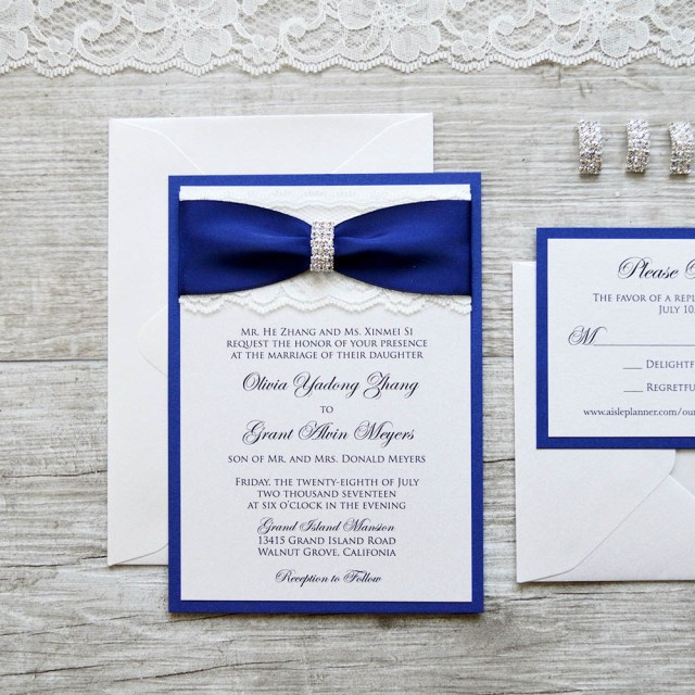 Royal Blue Wedding Invitations Olivia Ivory Lace Wedding Invitation With Royalnavy Blue Ribbon