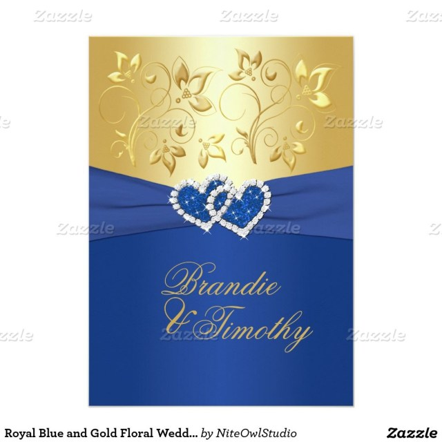 Royal Blue Wedding Invitations Royal Blue And Gold Floral Wedding Invitation Wedding Ideas