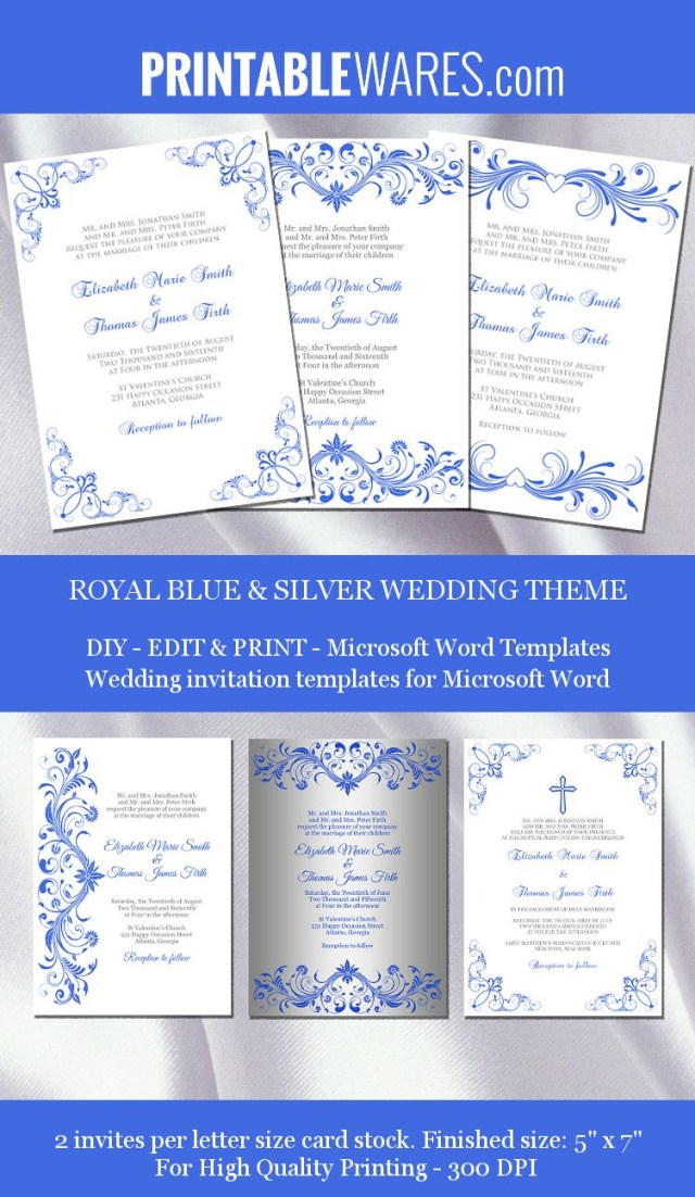Royal Blue Wedding Invitations Royal Blue And Silver Wedding Invitation Templates For Microsoft