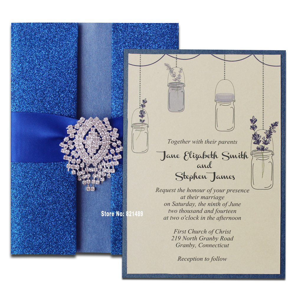 Royal Blue Wedding Invitations Royal Blue Wedding Invitation Shimmer Invitation Card Blue