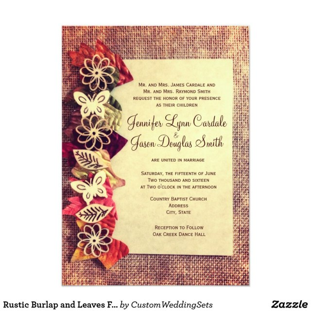 Rustic Fall Wedding Invitations Rustic Burlap And Leaves Fall Wedding Invitations In 2018 Wedding