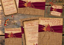 Rustic Fall Wedding Invitations Rustic Country Wedding Invitation Autumn Leaves On Faux Burlap