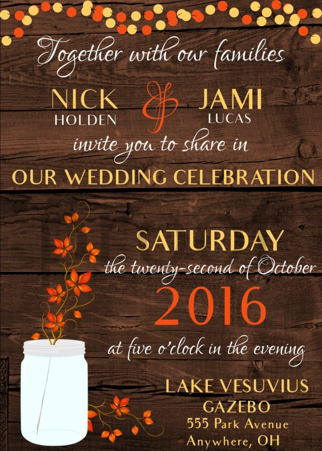 Rustic Fall Wedding Invitations Rustic Fall Wedding Invitation Digital Download E10261624441929753m