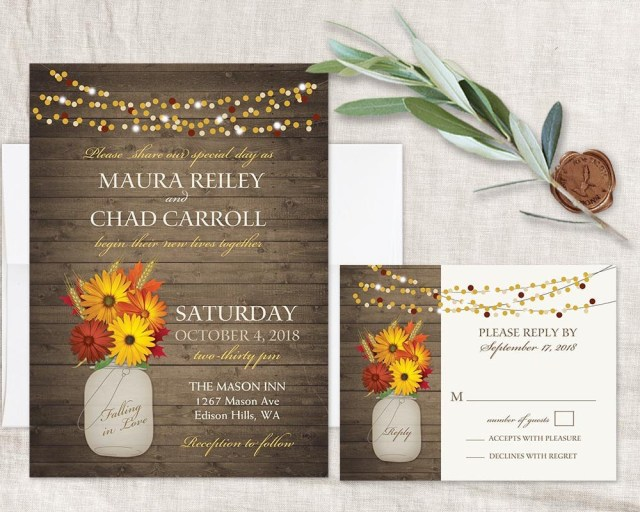 Rustic Fall Wedding Invitations Rustic Fall Wedding Invitations Set Printable Fall Wedding Etsy