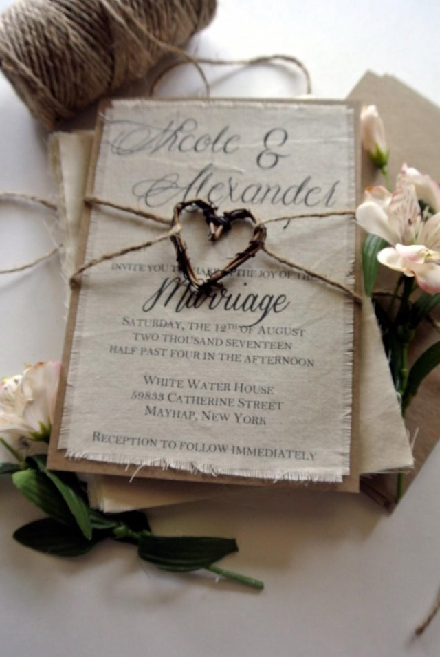 Rustic Fall Wedding Invitations Rustic Wedding Invitation Boho Script Twine Fabric Invitation