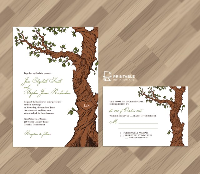 Rustic Wedding Invitation Kits Free Pdf Rustic Wedding Invitation And Rsvp Template Fairytale Tree