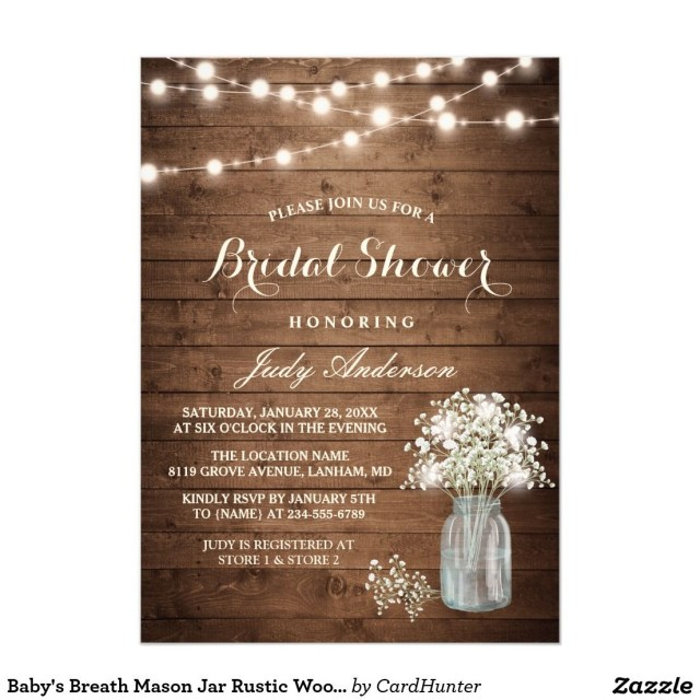 Rustic Wedding Shower Invitations Bas Breath Mason Jar Rustic Wood Bridal Shower Invitation How