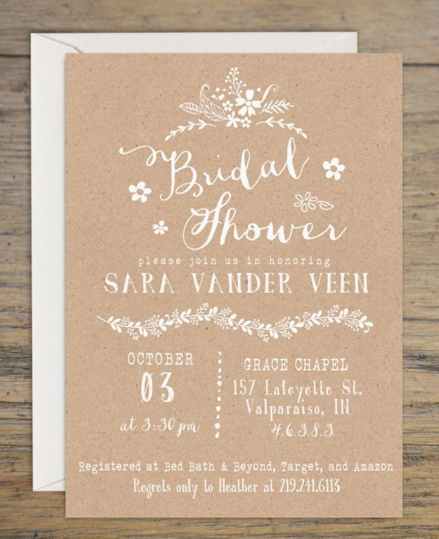 Rustic Wedding Shower Invitations Kraft Bridal Shower Invitation Bridal Shower Invitations Wedding