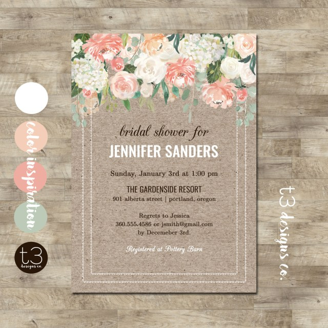 Rustic Wedding Shower Invitations Rustic Bridal Shower Invitation Elegant Floral Bridal Shower