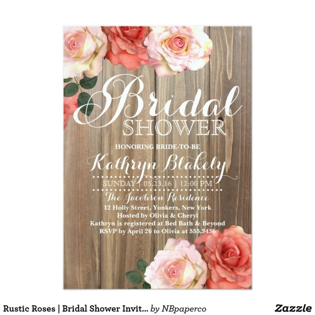 Rustic Wedding Shower Invitations Rustic Roses Bridal Shower Invitations Wedding Invitations