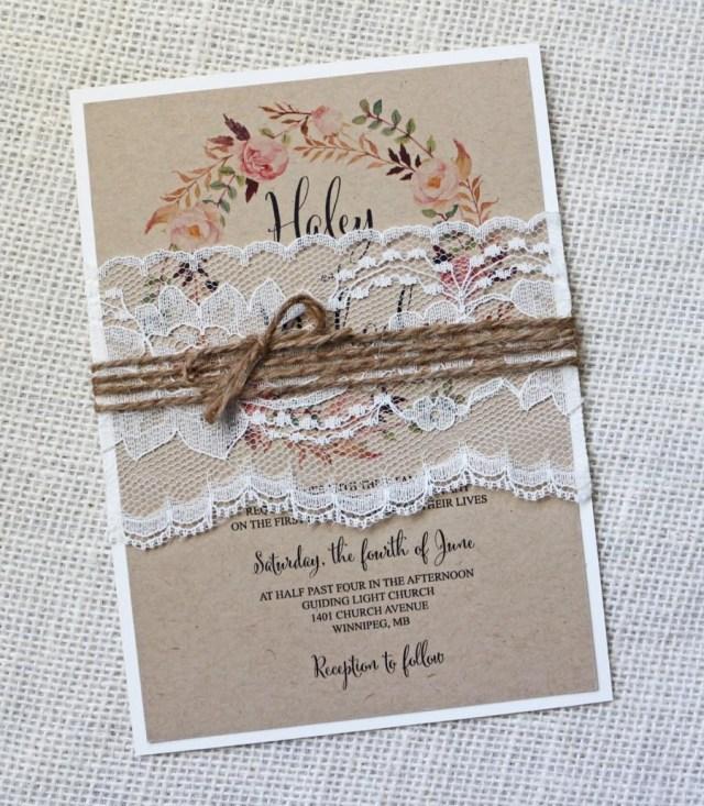 Shabby Chic Wedding Invitations Rustic Wedding Invitation Lace Wedding Invitation Vintage Wedding