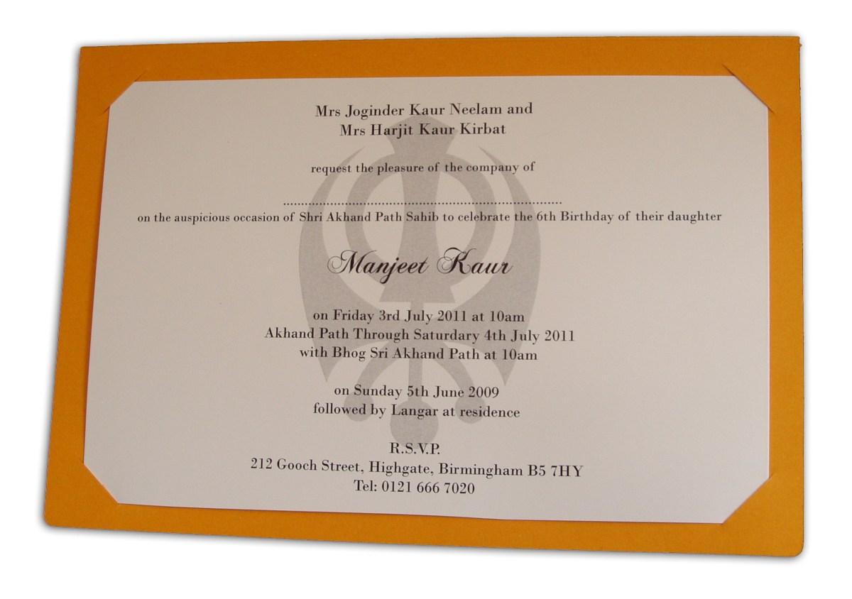 Sikh Wedding Invitations Abc 492 Saffron Coloured Sikh Punjabi Shabd Invitation 070