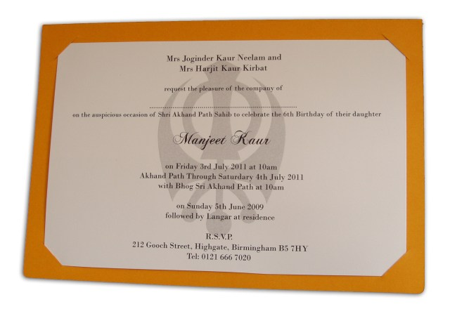 Sikh Wedding Invitations Abc 492 Saffron Coloured Sikh Punjabi Shabd Invitation 070