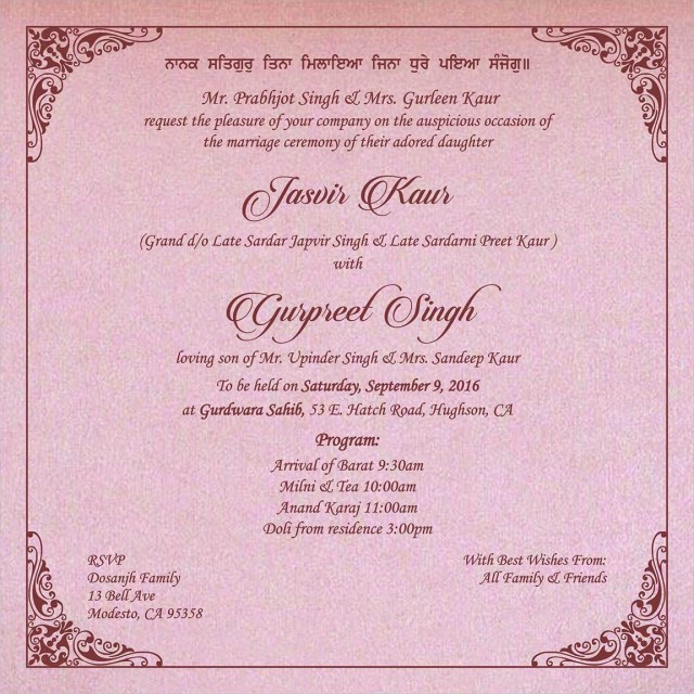Sikh Wedding Invitations Wedding Invitation Wording For Sikh Wedding Ceremony Sikh Wedding