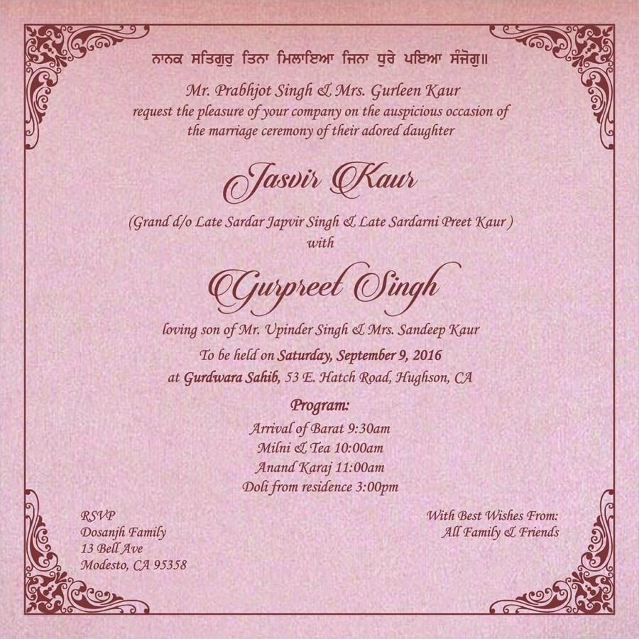 Sikh Wedding Invitations Wedding Invitation Wording For Sikh Wedding Ceremony Sikh Wedding