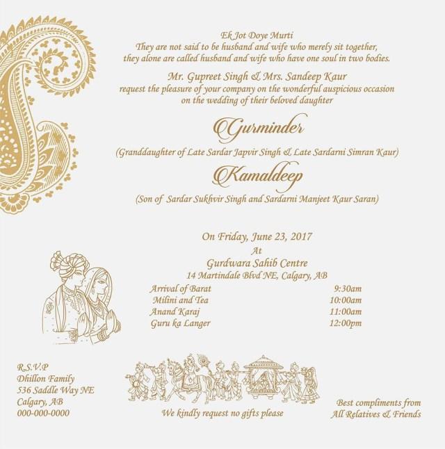 Sikh Wedding Invitations Wedding Invitation Wording For Sikh Wedding Ceremony Wedding