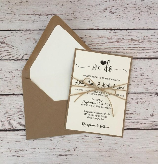 Simple Wedding Invitation Rustic Wedding Invitation Simple Wedding Invitation Twine Wedding