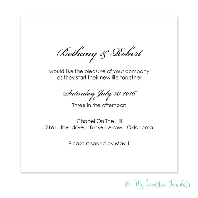 Simple Wedding Invitation Simple Wedding Invitation Template Diy Minimalist Square Invites