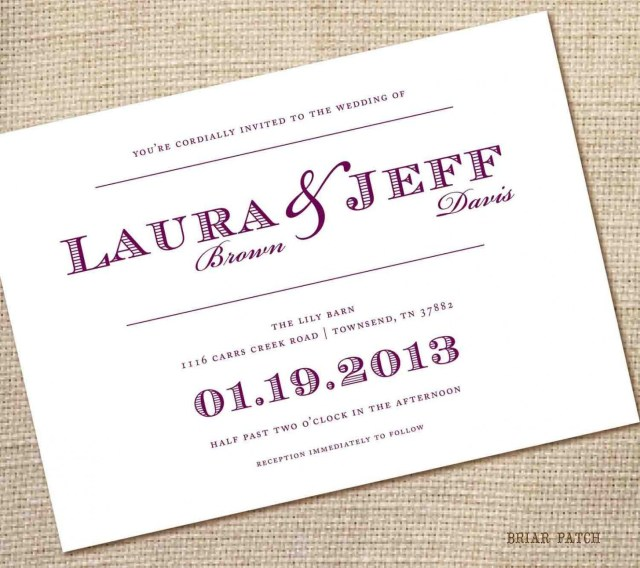 Simple Wedding Invitation Simple Wedding Invitations With Photo Beach Wedding Hair