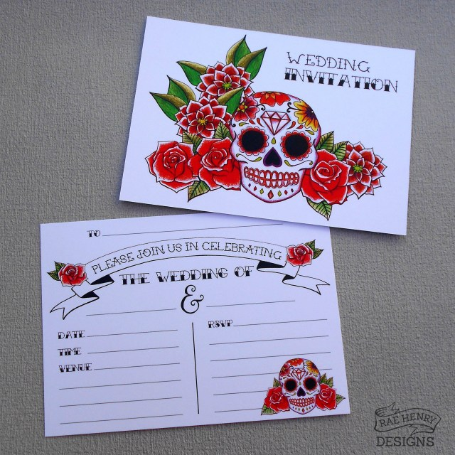 Skull Wedding Invitations 10 Red Sugar Skull Wedding Invitations Envelopes Tattoo Etsy