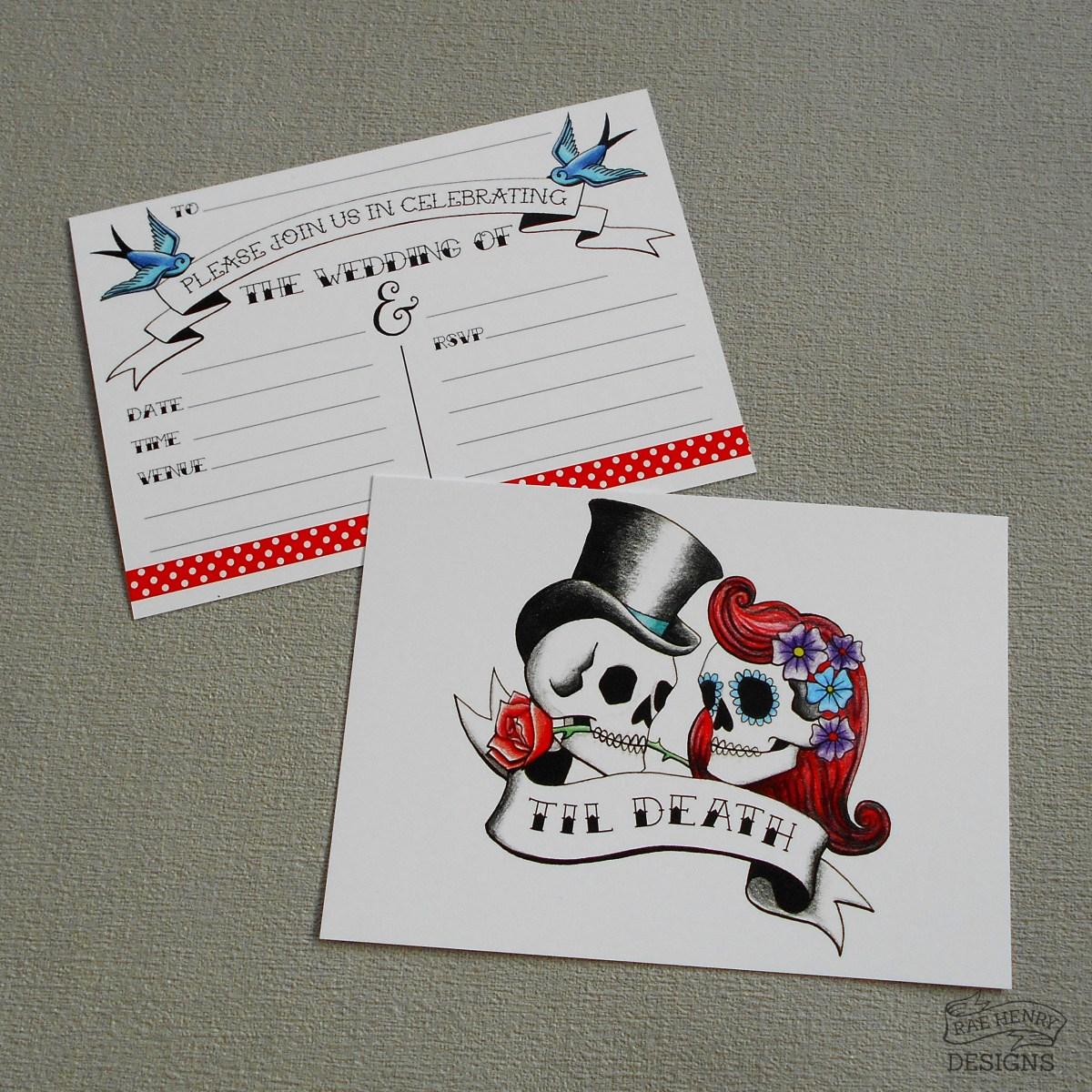 Skull Wedding Invitations Rockabilly Skulls Wedding Invitations