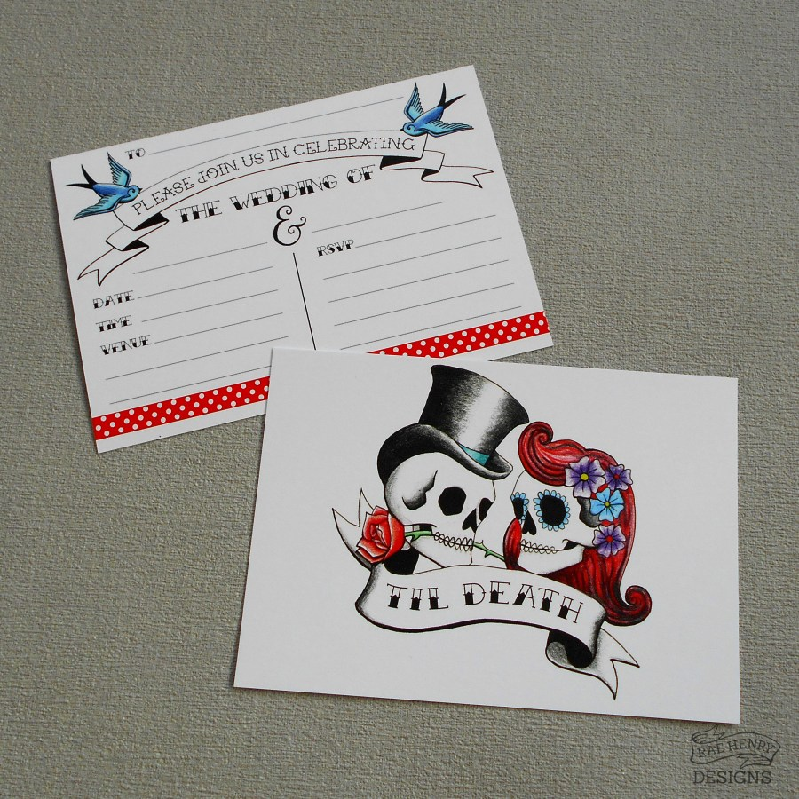 Skull Wedding Invitations Rockabilly Skulls Wedding Invitations