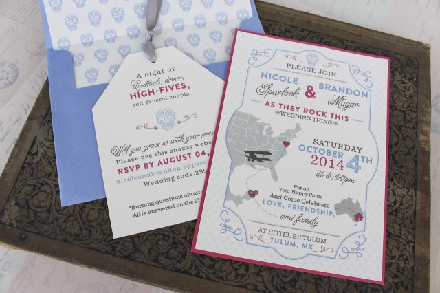 Skull Wedding Invitations Sugar Skull Typography Wedding Invitation Tulum Mexico