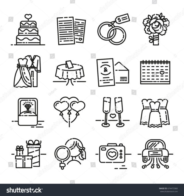 Symbols For Wedding Invitations Set Line Icon Wedding Symbols Groom Stock Vector Royalty Free