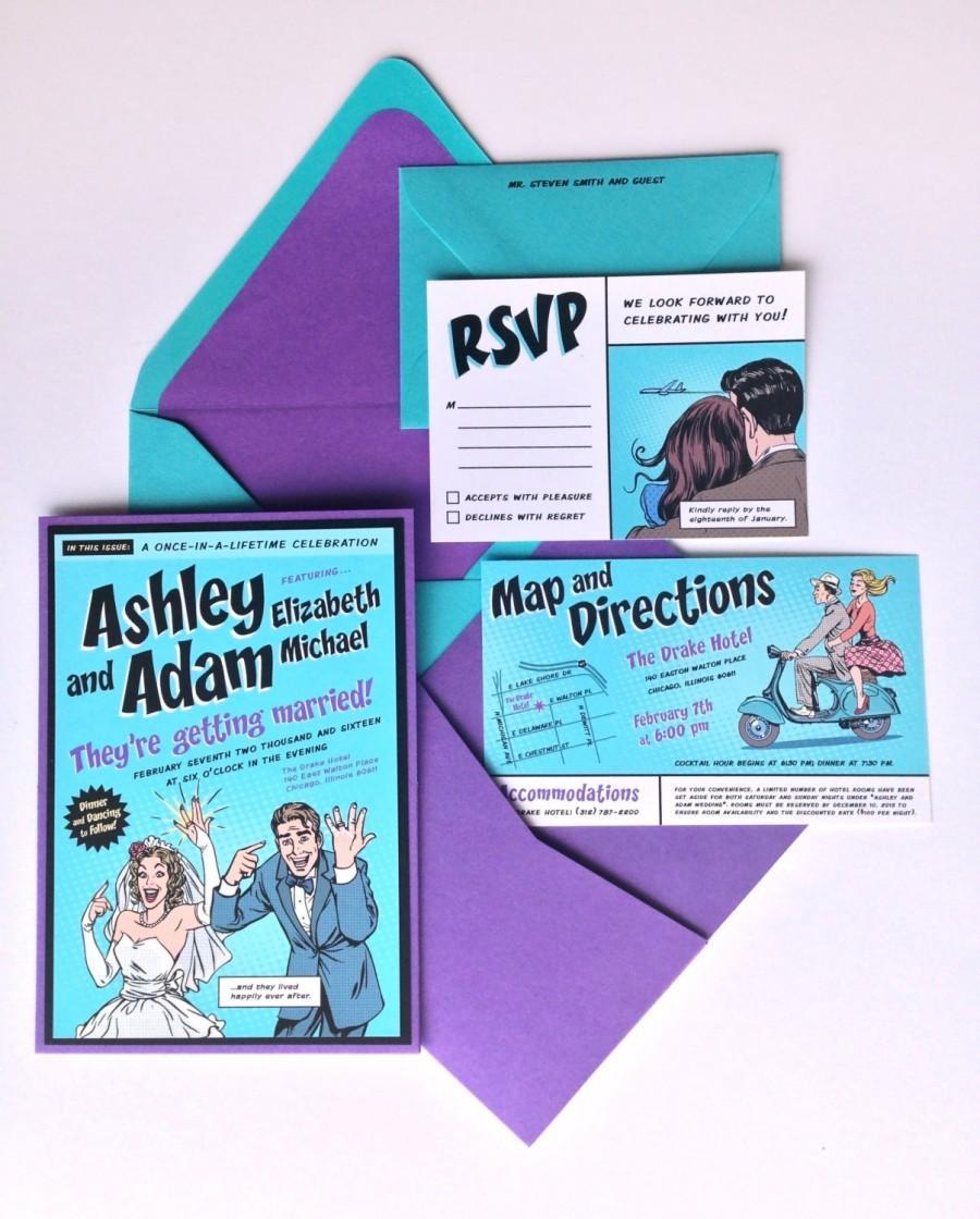 Teal Wedding Invitations Kits Custom Comic Book Wedding Invitation Kit Invitation Pocket