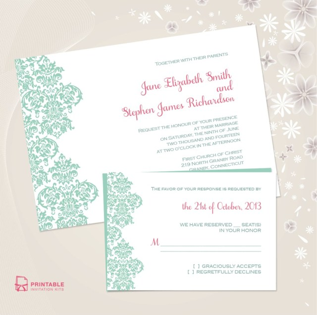 Teal Wedding Invitations Kits Damask Border Wedding Invitation Free Printable Wedding