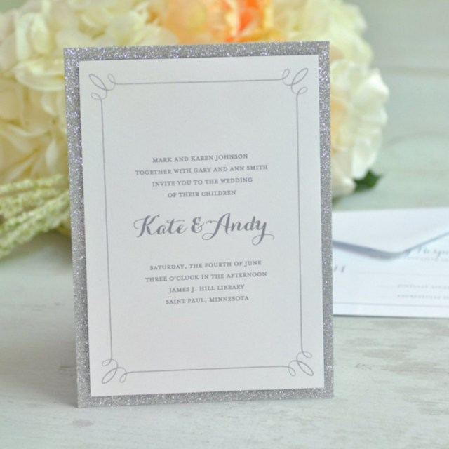 Teal Wedding Invitations Kits Print At Home Invitation Kit Silver Glitter