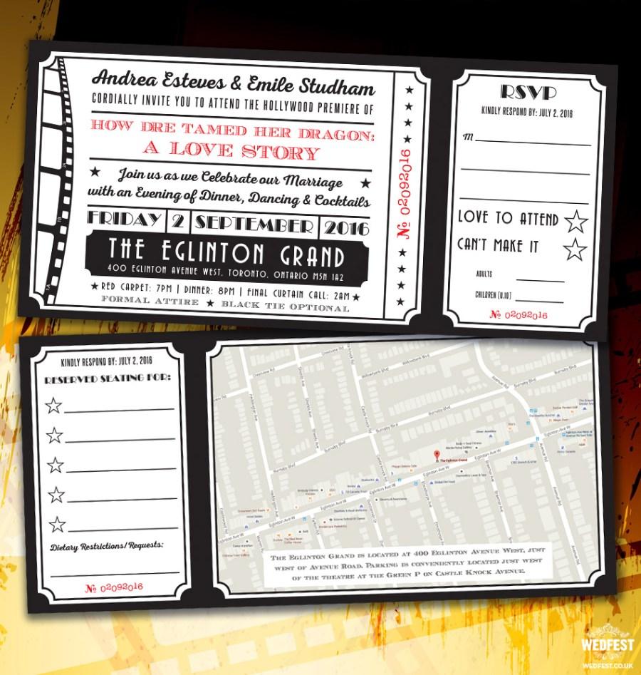 Ticket Wedding Invitations Cinema And Movie Themed Wedding Stationery Wedfest