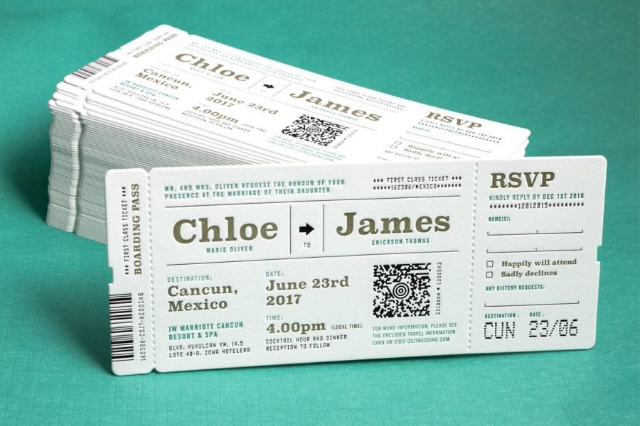 Ticket Wedding Invitations Custom Printed Wedding Invitations Jukebox