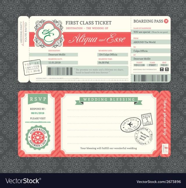Ticket Wedding Invitations Vintage Boarding Pass Ticket Wedding Invitation Vector Image