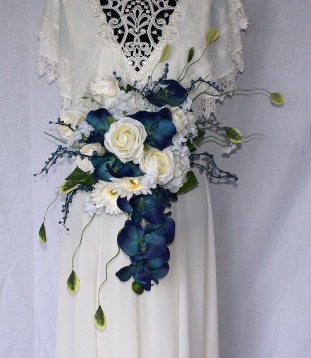 Tradesy Wedding Decor Orchids In Blue Silk Bridal Bouquet Ceremony Decoration Tradesy