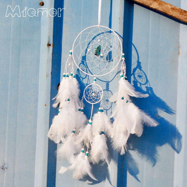 Turquoise And White Wedding Decorations Big Polycyclic Dreamcatcher Handmade White Turquoise Dream Catcher