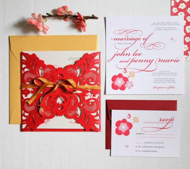 Vietnamese Wedding Invitations Vietnamese Wedding Invitations Luxury Elegant Spring Blossom Printed