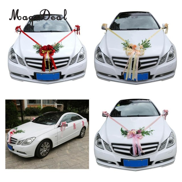 Wedding Car Decoration Kit 9pcs Wedding Car Decorations Kit Artificial Silk Flower Ribbon And