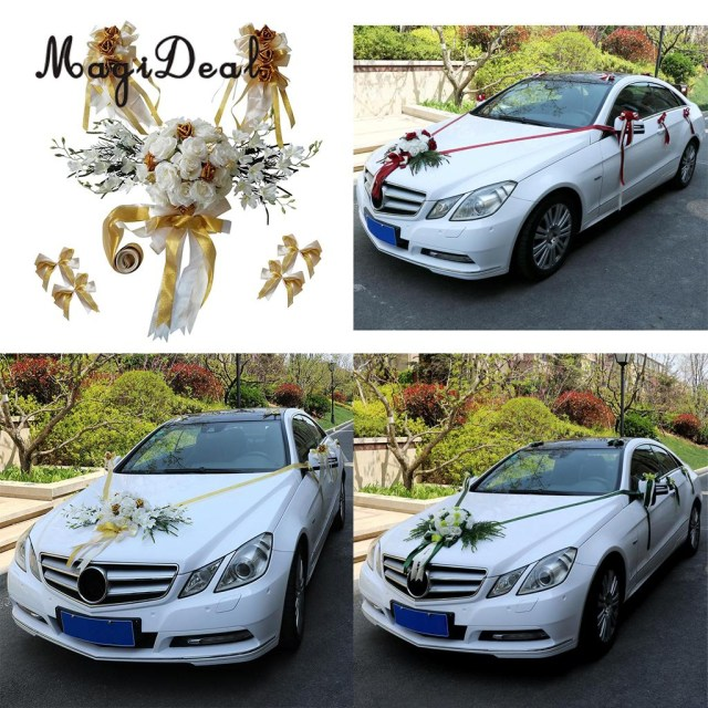 Wedding Car Decoration Kit Magideal 12pcsset Wedding Car Decorations Kit Diy Artificial Silk