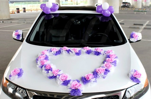 Wedding Car Decoration Kit Set Of 28 Flowers Wedding Car Heart Decorations Kit Purple Etsy
