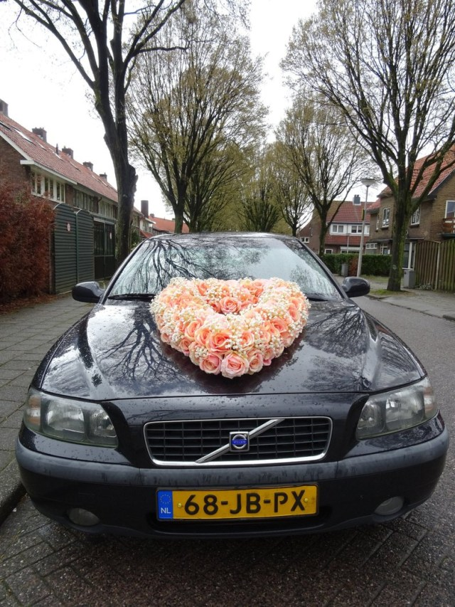 Wedding Car Decoration Wedding Car Decoration Jumbo Heart Of Pink Silk Roses And Ba Etsy
