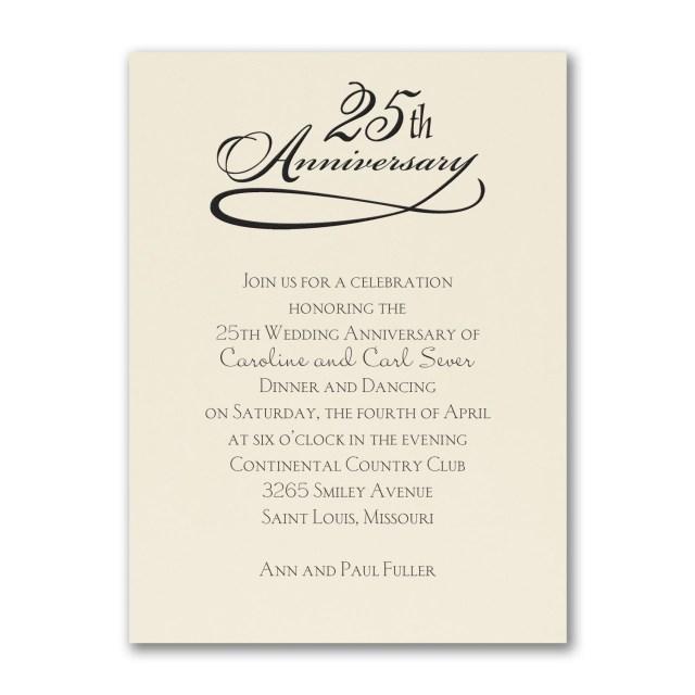 Wedding Celebration Invitations 25 Years Celebration Invitation Ecru Party Anniversary