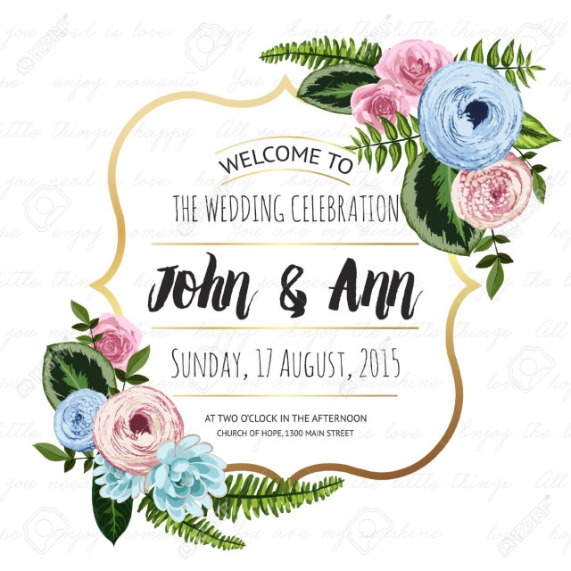 Wedding Celebration Invitations Wedding Invitation Card With Painted Flowers And Plants On Seamless