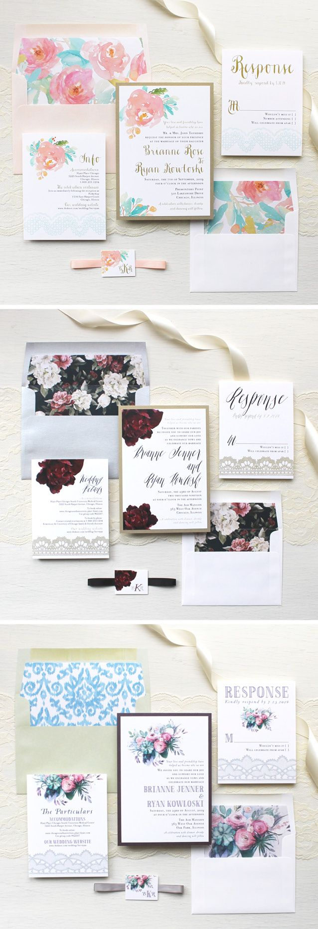 Wedding Invitation Assembly From Romantic Watercolors To Modern Florals We Admit We Are